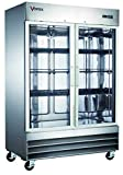 Commercial Grade Freezer | Stainless Steel | 2 Glass Doors | Fog Resistant Glass | 54' x 32.25' x 82.5' | Digital Temperature Controller | 47 Cu. Ft. | 6 Adjustable Shelves | R-290 Natural Refrigerant