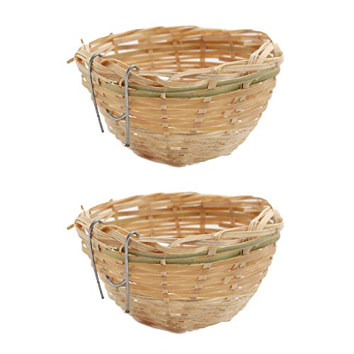 F Fityle 2 Piezas De Jaula De Nido De Pájaro De Bambú Tejida A Mano para Incubar Cueva De Cría para Loros, Canarios O Cacatúas U Otras Aves