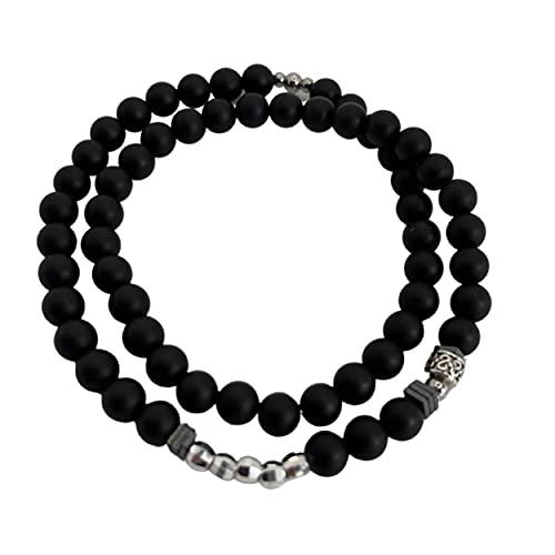 GENAC - Pulsera doble elástica extensible con perlas naturales de 6 mm, plata 925 hematita y acero inoxidable, pulsera unisex de diseño único, perfecta para hombres y mujeres, Taille 1, Piedra,