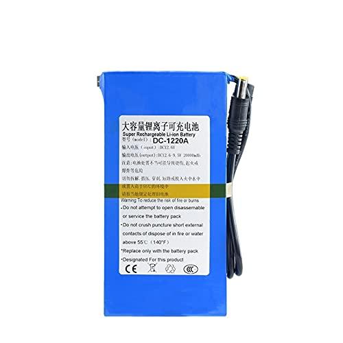 TTCPUYSA 12v 12.6v 4800/6800/8000/9800/15000/20000mah DC Batería De Iones De Litio De Litio, Paquete De Batería Recargable + Interruptor De Encendido/Apagado BMS DC-1220A(DC-122000)