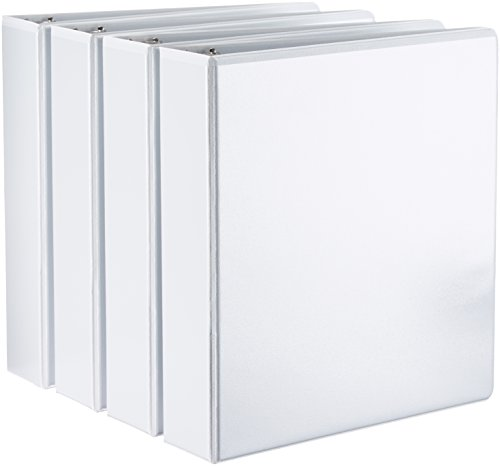 AmazonBasics Binder - 2 Inch D-Ring, White, 4-Pack