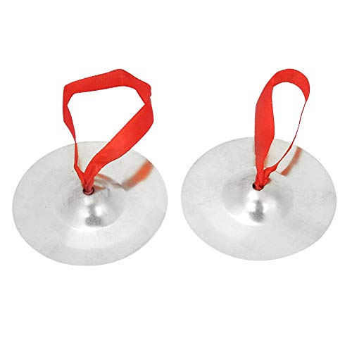 2 Piezas de Instrumentos Musicales de Dedo de Oro de platillos de latón para niños o Adultos(SC-10 Silver)