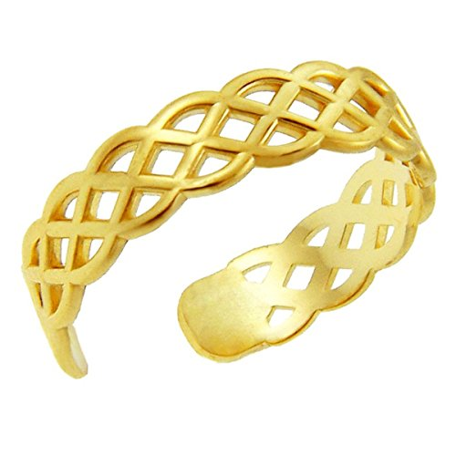 Modern Contemporary Rings 10k Yellow Gold Celtic Knot Band Adjustable Mid Knuckle Ring