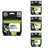 HP Cian, Cartucho de Tinta, Compatible con impresoras de inyección de Tinta HP OfficeJet Pro 7720, 7730, 7740 + Magenta, Cartucho de Tinta + Amarillo, Cartucho de Tinta + Negro, Cartucho de Tinta