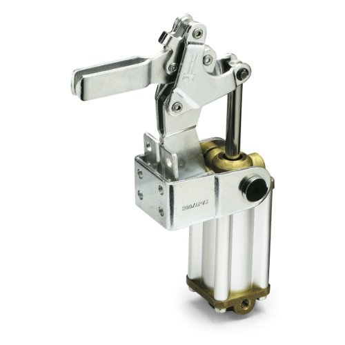 JW Winco Series GN 862 Steel Pneumatic Toggle Clamp with Vertical Mounting Base and Two Flanged Washers, Type APV3, Metric Size, U Bar, Clamp Size 300, 2700 Newton Holding Capacity