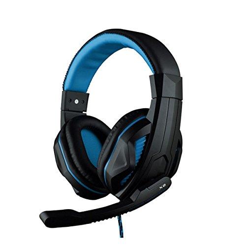 DARKIRON Max PC Stereo Gaming Headset, Over Noise Cancelling Kopfhörer mit Lautstärkeregler, Mikrofon flexibel für Computer Game, Tablets, Laptops Black&blue-X2
