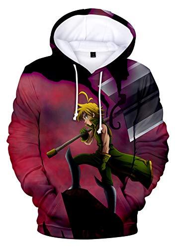 QYIFIRST Sudadera con capucha unisex con estampado 3D de anime, de The Seven Deadly Meliodas Dragon's Sin Wrath, disfraz para cosplay con bolsillos, lila A 5XL (pecho 125 cm)