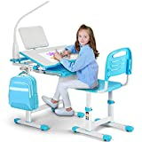 Artist Hand Kids Study Desk and Chair Set Height Adjustable Children School Table Large Writing Board Desk with LED Lamp Pull Out Drawer Pencil Case Bookstand Blue