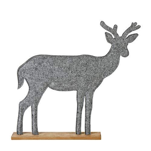 Spetebo Deko Filz Rentier mit Holzfuß - 52x52 cm - Weihnachtsdeko Tisch Deko Elch grau