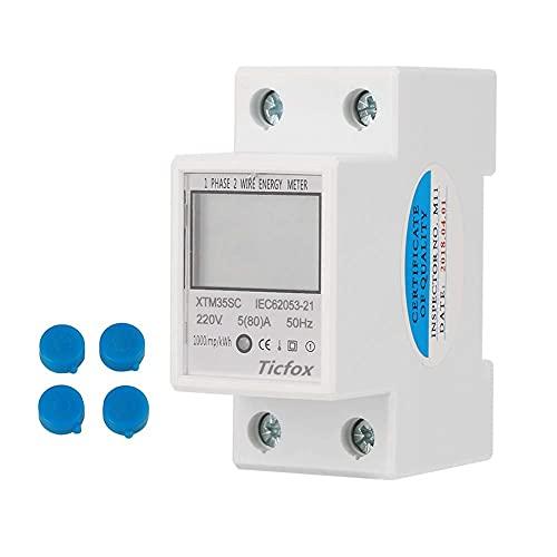 Samfox Contatore Elettrico KWh, Monofase a Due Fili Contatore di Energia Elettrica su Rotaia Kilowattora KWH Contatore 220v LCD 2P 5 (80) A 50 / 60Hz