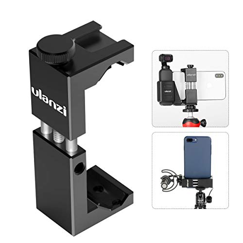 Ulanzi Cell Phone Tripod Mount Adapter w Cold Shoe, Metal Phone Tripod Adapter Aluminum Alloy Vertical w 1/4'' Screw Compatible w OSMO Pocket iPhone 11 Pro Max XS Max XR 8 7 Plus Google OnePlus 7 Pro