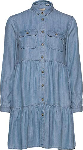 Superdry Damen Tiered Shirt Dress Kleid, Blau (Light Indigo Used 3GK), S (Herstellergröße:10)