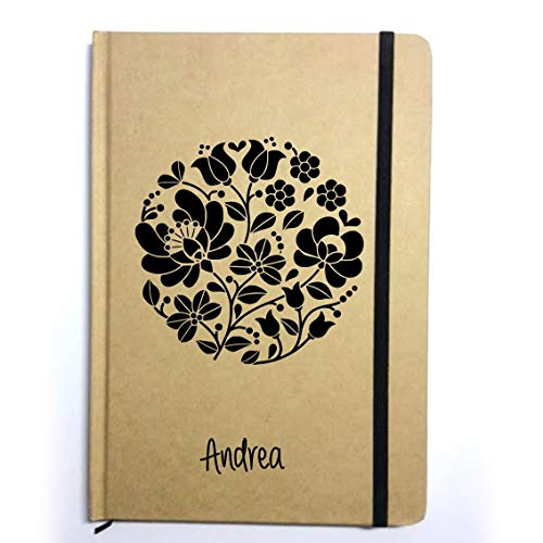 Libreta bonita personalizada .Block de notas tapa dura reciclada. A5. Varios colores a elegir.Circulo floral. Decorada a mano en España.