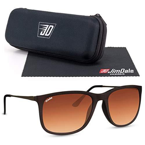 JD Jim Dale Gafas de sol con marco de plástico y patillas de metal, protección UV400, para hombre y mujer Marrón-imitación de madera Talla única