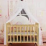 Ropa de cama para bebés Cuna Mosquitera -Ropa de cama de verano para bebés Cuna Mosquitera Tamaño portátil Redondo Bebé Cuna Mosquitera Colgado Cúpula Cortina Red - Blanco