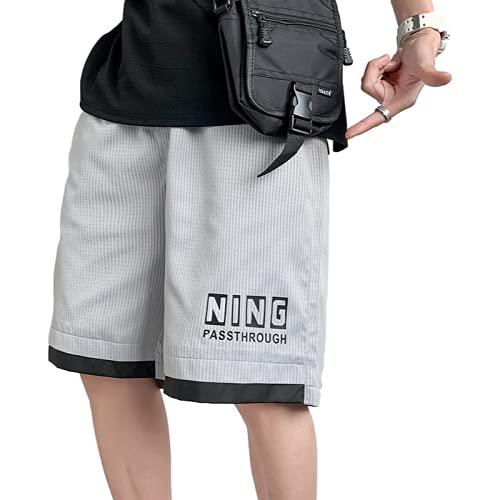 Katenyl Pantalones Cortos Deportivos de Retazos con Costuras de Talla Grande para Hombre, Pantalones Cortos básicos Informales con Estampado de Simplicidad y Tendencia Atractiva a la Moda 4XL