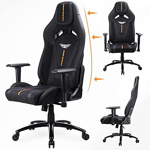 Acethrone Chaise de Gaming Ergonomique, Comfortable Fabric Chair Hauteur Dossier réglable de à 135°, accoudoirs réglables pivotant sur 360°(Noir et Orange,L)