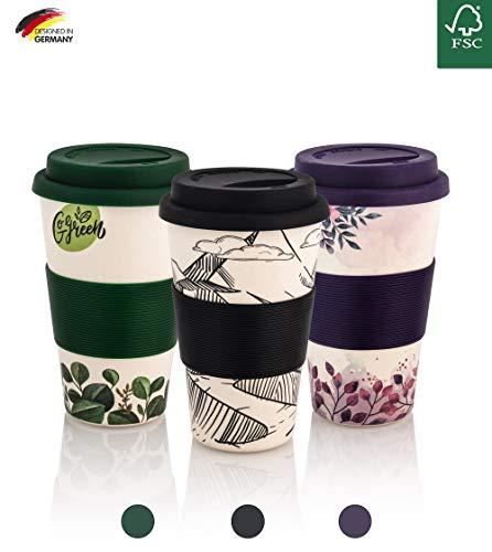 Coffee-to-Go-Becher aus Bambus | Kaffe-Becher, Trink-Becher | wiederverwendbar, umweltfreundlich & recyclebar, lebensmittelecht, spülmaschinengeeignet Mountain