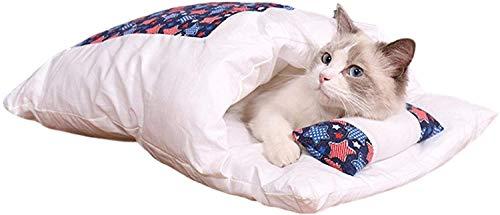 YAOSHUYANG Perro cama Bolsa de dormir del gato, basura lavable removible para mascotas, removible y lavable acolchado, súper suave y cómodo, estilo japonés, gato, gato, saco de dormir para perros gati