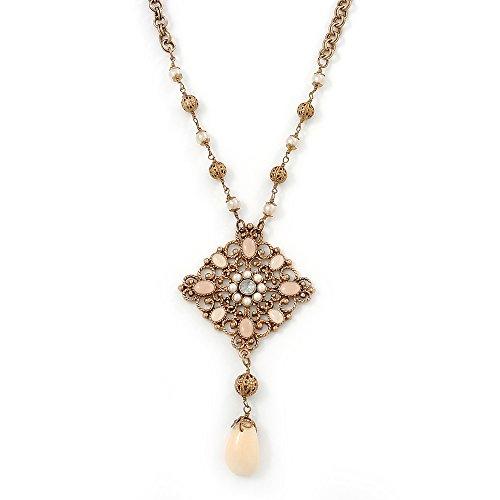 Stile Vintage, con ciondolo con perla finta, design a filigrana, con Chunky Catenina In oro antico, In metallo, lunghezza 38 cm di lunghezza, 6 cm di estensione