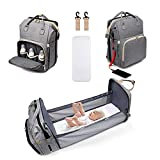 3 in 1 Baby Diaper Travel Bag Backpack with Changing Station, Foldable Mummy Baby Bags for Baby Girls Boys Maternity with Bassinet Baby Bed Mat Pad Men Dad Mom Waterproof Large Capacity Grey
