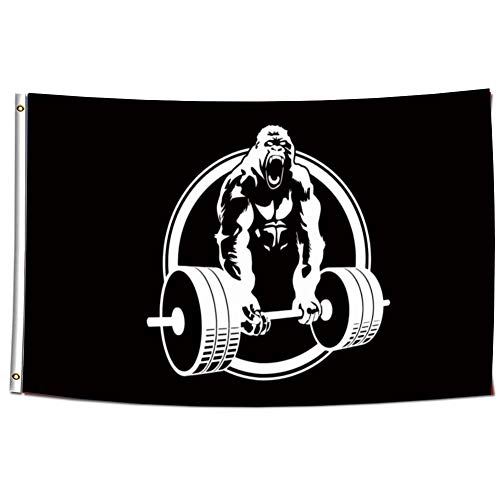 ENMOON Gorilla Gym Lifting Champs Flag Banner for Man Cave Home Gym (3x5ft, Anti-Fade HD Printing 150D Poly) Premium Quality with Two Brass Grommets Banner Vibrant Colors