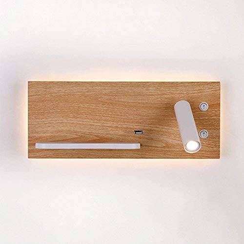 Luz de pared LED moderna 9W Luz blanca cálida con foco de pared Diseño giratorio Aluminio blanco de aluminio interior de la lámpara de pared con interruptor y conector USB , para al aire libre, calle,
