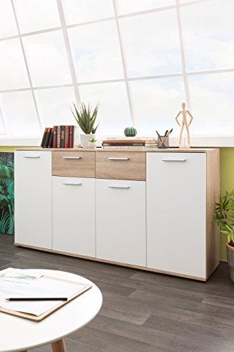 Inter Trade Corporation Kommode weiß - Sonoma Eiche | mit 4 Türen, 2 Schubkästen | Korpus und Topplatte 15mm inkl. Einlegeböden
