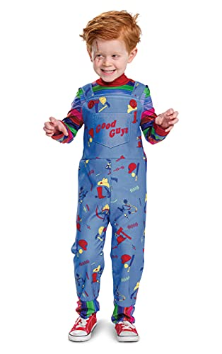 Chucky Costume for Kids, Official Childs Play Chucky Costume Jumpsuit Outfit, Classic Toddler Size Medium (4T)