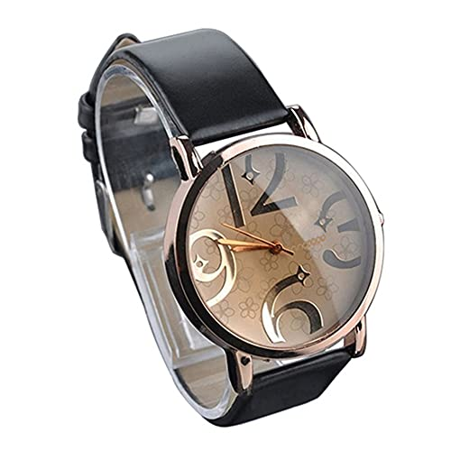 SpirWoRchlan Reloj de pulsera, diseño simple de moda, con números grandes, esfera de piel sintética, correa de cuarzo, regalo para mujeres y hombres, color negro