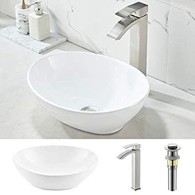 """Oval Vessel Sink and Faucet Combo-WMXQX 16"""" x 13"""" Oval White Ceramic Vessel Sink Above Counter Bathroom Vessel Vanity Sink Art Basin, Waterfall Faucet Matching Pop Up Drain Combo"""