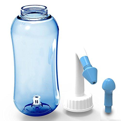 ONCCI 300ml Nasendusche Heuschnupfen Nasenspülung/Allergie / Trockener Nase Nasenreinigung Nase Spülen Mit Zwei Aufsätze für Kindern und Erwachsene