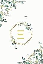 """Ξ: ξ Xi, Initial Monogram Greek Alphabet Letter Ξ Xi, Cute Cover Leaves Decoration, Unlined Notebook/Journal, 100 Pages, 6""""x9"""", Soft Cover, Matte Finish"""