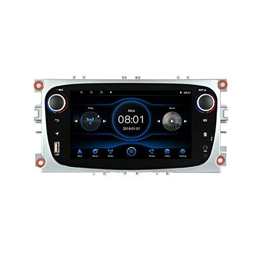 JIBO Radio Coche Estéreo Navegación Tablero para Ford Focus Mondeo Galaxy S-MAX Reproductor Multimedia con Pantalla Táctil HD de 7 Pulgadas con Entrada Cámara Trasera Bluetooth WiFi SWC,2+32g