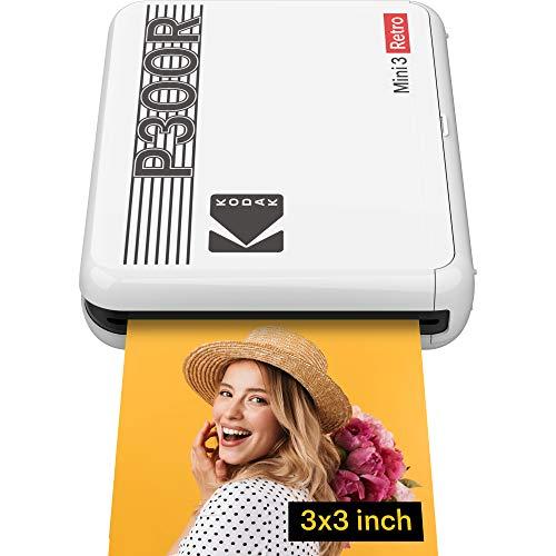 Kodak Mini 3 Retro Stampante Fotografica Istantanea Portatile, IOS, Android e Bluetooth, 7.6 x 7.6 cm, Tecnologia 4Pass e Laminazione -Bianco- 8 Fogli