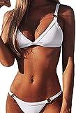 Bikini Brasileño para Mujer Triangular Acolchados Tops con Anillo Trajes de baño Dos Piezas Verano