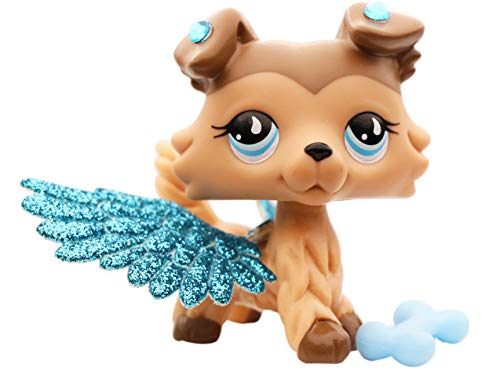 LPSXIE LPS Collie 893 Tan and Brown Blue Eyes Dog Figure Toy Collection with Accessories Boy Girl Gift Set (lps Collie 893)