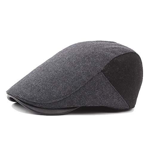YASE-king Mode Mode Baskenmütze Mütze Herbst Winter Wolle Damen Retro Caps Lederjacke Wärme Forward Cap Krawatte Hut (Color : Navy Gray, Size : 56-58cm)