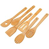 Wooden Spoons Cooking Utensils Set - 6 Pieces Bamboo Kitchen Spatulas for Non Stick Cookware as House Warming Presents