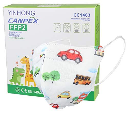 10x FFP2 Masken in Kleiner Größe mit bunten Motiven, CE Zertifiziert und einzeln verpackt, mit weichen Ohrschlaufen und Nasenbügel