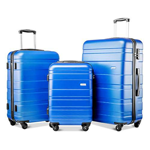 Set Of 3 Light Weight Hardshell 4 Wheel Travel Trolley Suitcase Luggage Set Holdall Case-20/24/28 Inch Blue