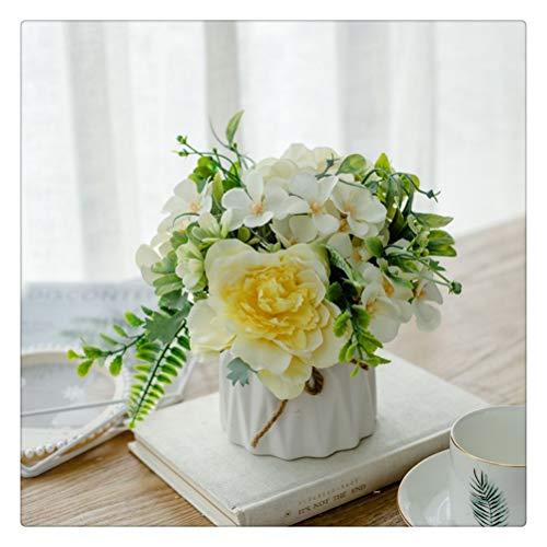DFSDG Künstliche Pfingstrose Blume Set mit Keramik Hanfseil Vase Rose Blume Simulation Pflanze Topf Hochzeit Dekoration (Color : Style 1)