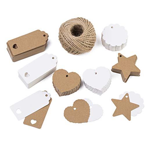 Tritart - Kraftpapier Anhänger Set 300 Teile + 50m Jute Schnur I Papier-Anhänger verschiedene Formen I Geschenk-Etiketten I Geschenk-Anhänger
