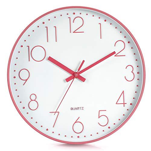 LENRUS 12 Zoll Wall Clock Modern Quartz Lautlos Wanduhr mit Arabisch Ziffer Wanduhren Ohne Ticken Wohnaccessoires Deko (Rosa)
