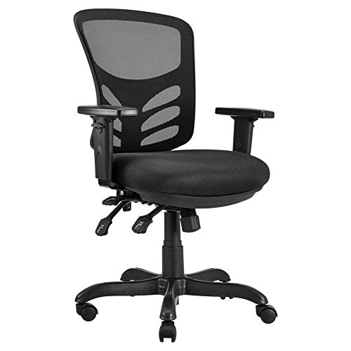 AmazonCommercial Ergonomic Mid-Back Mesh Desk/Computer Chair with Adjustable Seat, Armrests, and Lumbar Support - Black