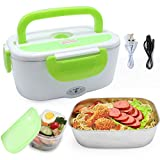 DOFIT Car Electric Heating Lunch Box 220V & 12V 40W 2 in1 Home Electric Thermal Lunch Box Food Heater Warmer, Stainless Steel Food Heater 1.5L for Heat Preservation, Office, School, Traveling (Green)