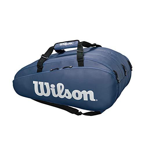 Sac pour raquettes de tennis Wilson, Tour, Jusqu'à 15 raquettes, Bretelles de sac à dos, Bleu/blanc, WR8002302001