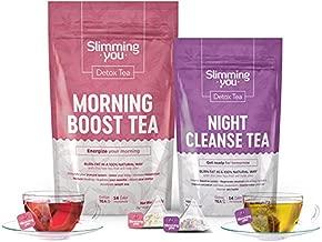 14 Day Detox Tea Kit - Weight Loss Tea 1 Morning Boost Tea (14 Bags) 1 Night Cleanse Tea (7 Bags), Tea Detox Cleanse Herbal Slim Tea for Detox, Cleanse & Bloating - with Bonus Digital Welcome Guide
