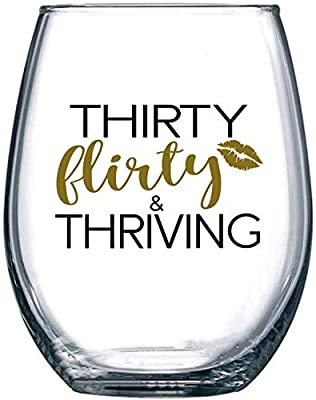 1990 30th Birthday Gifts for Women - Thirty Flirty and Thriving - Dirty 30 Gifts for Best Friend, Sister, Girlfriend, Wife, Daughter, Her - 15oz Stemless Wine Glass Tumbler