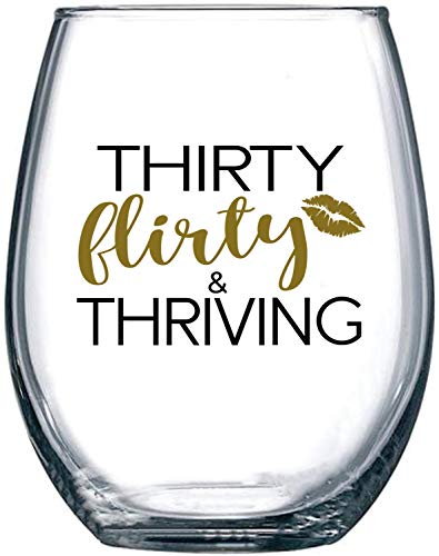 30th Birthday Gifts for Women - Thirty Flirty and Thriving - 1990 Dirty 30 Year Old Gift for BFF, Best Friend, Sister, Girlfriend, Wife, Daughter, Her - 15 oz Stemless Wine Glass Tumbler Decorations
